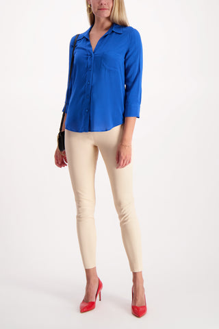 Full Body Image Of Model Wearing L'Agence Ryan 3/4 Sleeve Blouse
