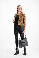 Full Body Image Of Model Wearing Sabine High Rise Zip Skinny