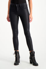 Front Crop Image Of Model Wearing Sabine High Rise Zip Skinny
