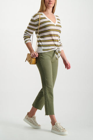 Full Body Image Of Model Wearing Image Of L'agence Sada High Rise Crop Slim Pant Basil