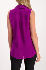 Back Crop Image Of Model Wearing L'Agence Sleeveless Freja Draped Blouse