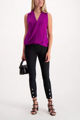 Full Body Image Of Model Wearing L'Agence Sleeveless Freja Draped Blouse