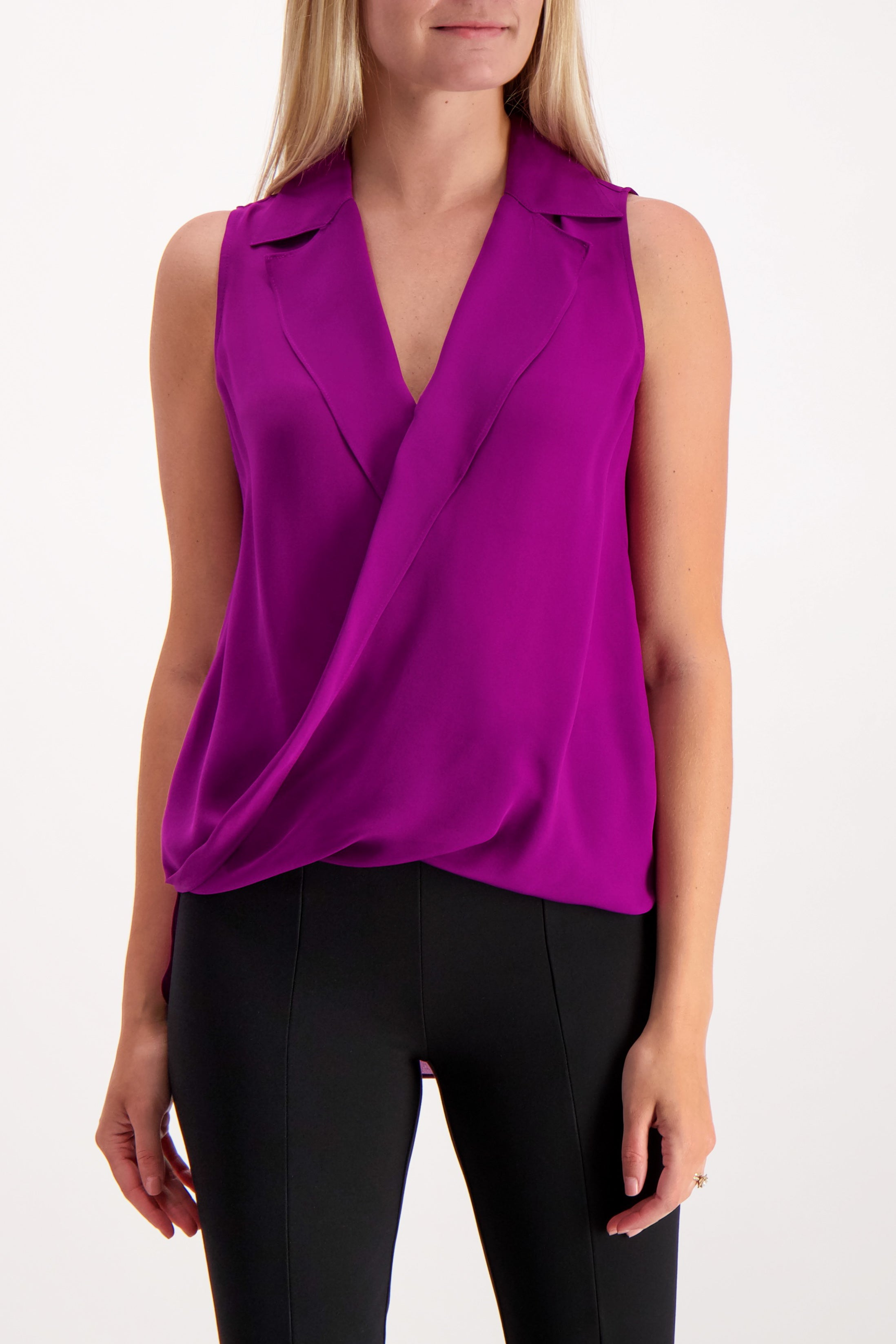 Front Crop Image Of Model Wearing L'Agence Sleeveless Freja Draped Blouse