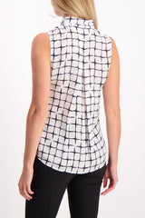 Back crop Image Of Model Wearing Sleeveless Natalia Necktie Tank