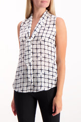Front Crop Image Of Model Wearing Sleeveless Natalia Necktie Tank