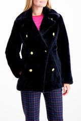 Front Crop Image Of Model Wearing La Seine & Moi Brigitte Caban Coat