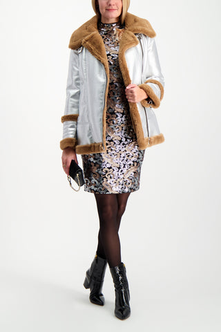 Full Body Image Of Model Wearing La Seine & Moi Jane Bombardier Coat