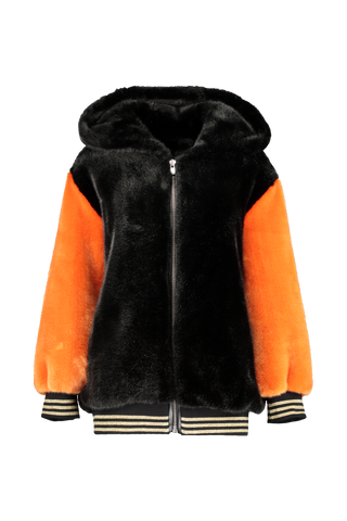 Front view image of La Seine & Moi Women's Leone Oversize Teddy Bi-Color Coat