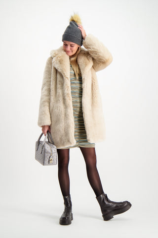 Full Body Image Of Model Wearing La Seine & Moi Louve Long Coat Beige