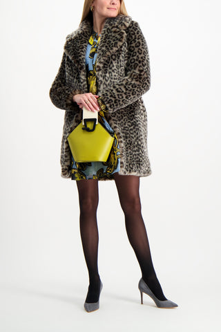 Full Body Image Of Model Wearing Louve Long Coat Leopard