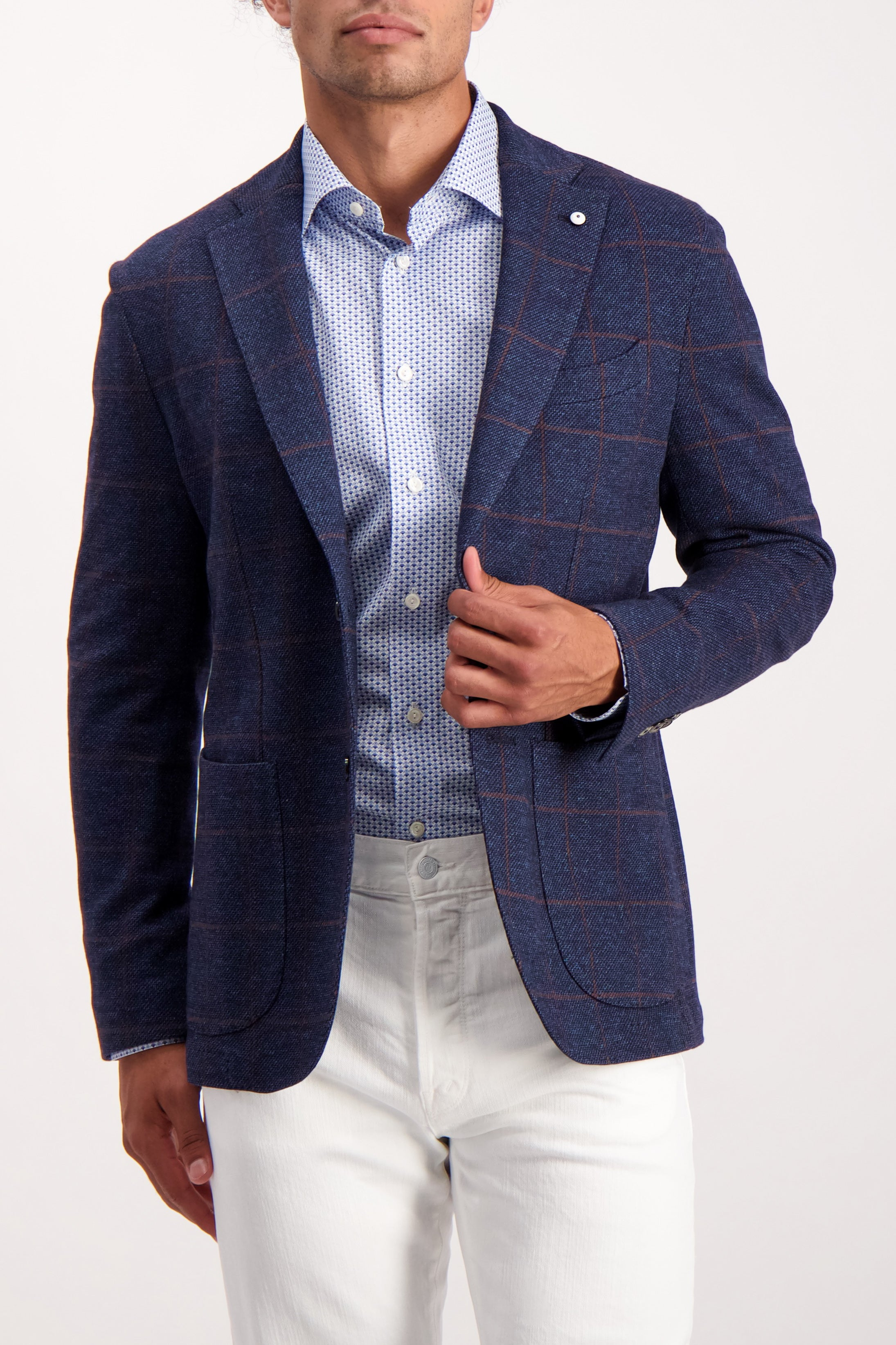 Front Crop Image Of Model Wearing L.B.M. 1911 Plaid Sportcoat