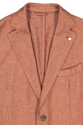 Lapel detail image of L.B.M. 1911 Men's Solid Brown Textured Wool