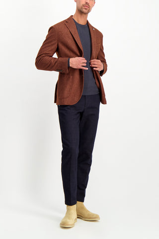 Full Body Image Of Model Wearing L.B.M. 1911 Men's Solid Brown Textured Wool