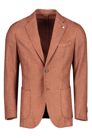 Front image of L.B.M. 1911 Men's Solid Brown Textured Wool