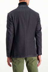 Back Crop Image Of Model Wearing L.B.M. Wool Herringbone Sportcoat Black