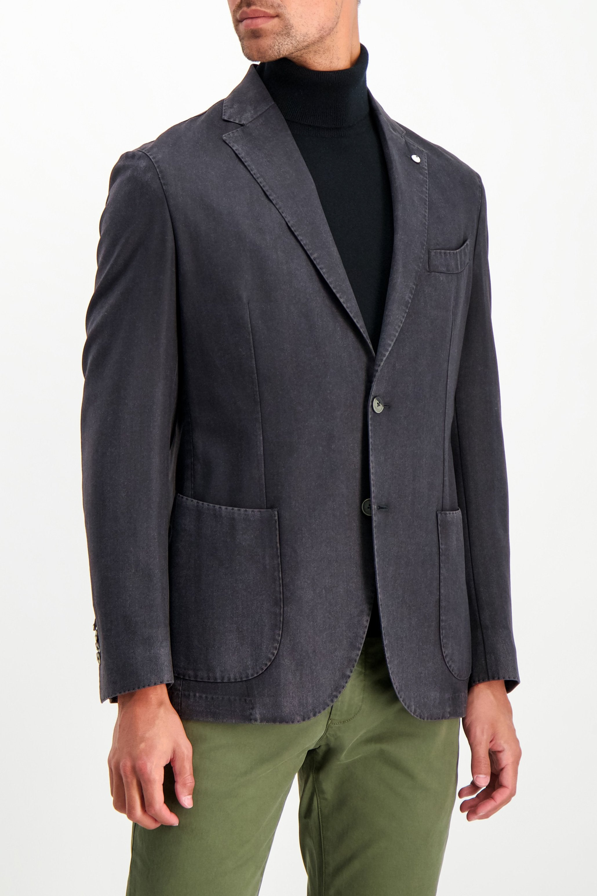 Front Crop Image Of Model Wearing L.B.M. Wool Herringbone Sportcoat Black