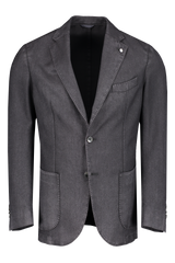 Front Image Of L.B.M. Wool Herringbone Sportcoat Black