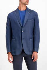 Front Crop Image Of Model Wearing L.B.M. 1911 Wool Herringbone Sportcoat Navy