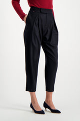 Front Crop Image Of Model Wearing Les Garconnes Marlene Wool Trouser