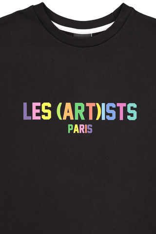 Collar Image of LES (ART)ISTS Rainbow Crewneck Sweater Black