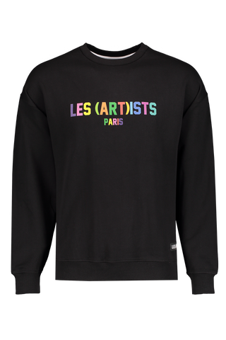 Front Image of LES (ART)ISTS Rainbow Crewneck Sweater Black