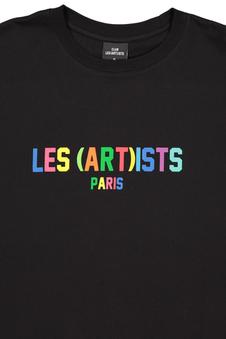 Front Collar Image of LES (ART)ISTS Short Sleeve Rainbow T-Shirt In Black