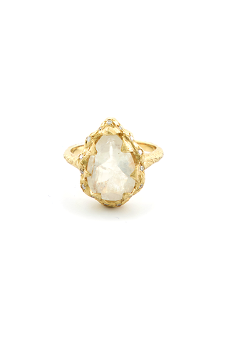 Queen Water Drop Moonstone Ring with Sprinkled Diamonds