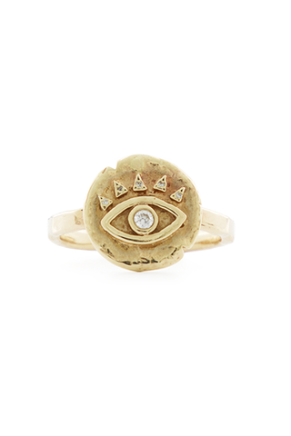 18K Diamond Baby Eye of Protection Coin Ring
