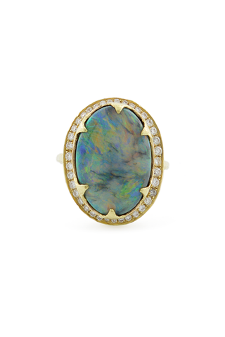 Black Opal Ring with Full Pave Diamond Halo
