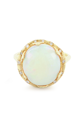 Cabachon White Opal Queen Ring
