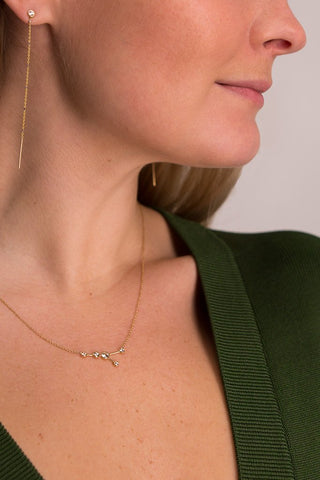 Detail Image Of Model Wearing Cancer Constellation Necklace