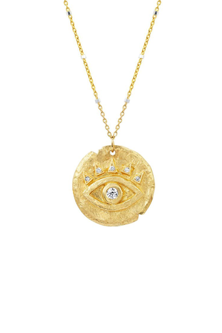 Diamond Baby Eye of Protection Coin Pendant Necklace