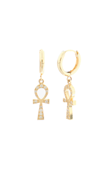 Detail image of Logan Hollowell Diamond Eternal Ankh Cross  Earrings