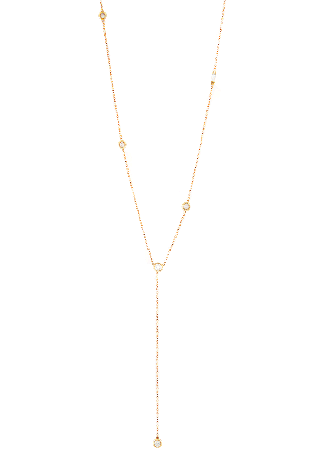 Front detail image of Diamond Star Droplet With Baguette Lariat