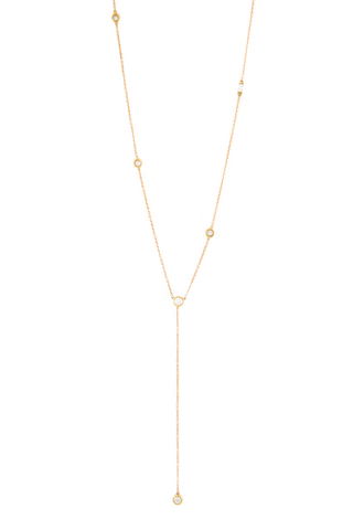 Diamond Star Droplet With Baguette Lariat