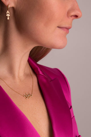 Detail Image Of Model Wearing Midas Star Diamond Necklace