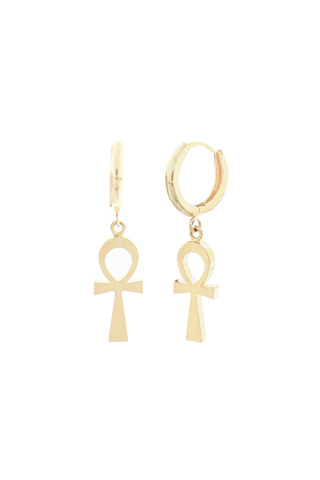 Detail image of Logan Hollowell Solid Eternal Ankh Cross Earrings