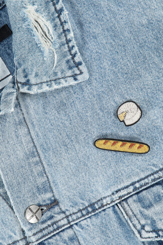 Image of Macon & Lesquoy Baguette and Camembert Pins on jean jacket