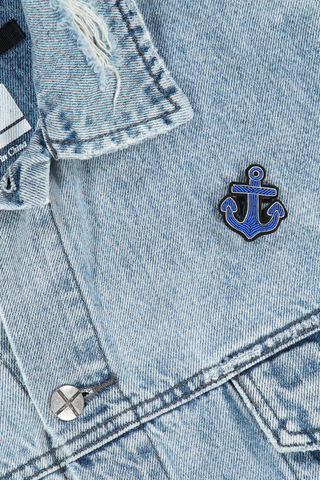 Image of Macon & Lesquoy Blue Anchor Pin on jean jacket