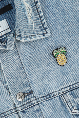 Image of Macon & Lesquoy Gold Pineapple Pin on jean jacket