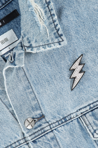 Image of Macon & Lesquoy Lightning Pin on jean jacket