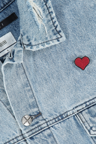 Image of Macon & Lesquoy Red Heart Pin on jean jacket