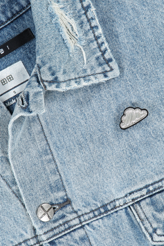 Image of Macon & Lesquoy Silver Cloud Pin on jean jacket