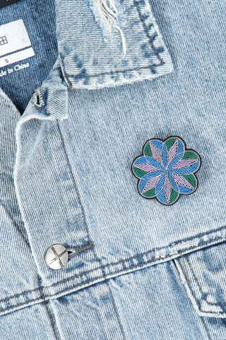 Image of Macon & Lesquoy Stained Glass Peony Pin on jean jacket