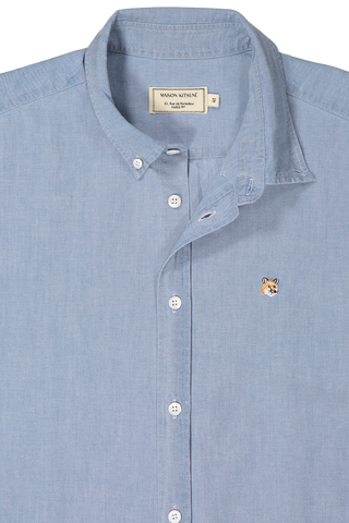 Chambray Fox Head Embroidery Classic Fit Button Down