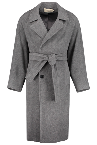 Front view image of Maison Kitsuné Men's Oversized Coat Grey Melange