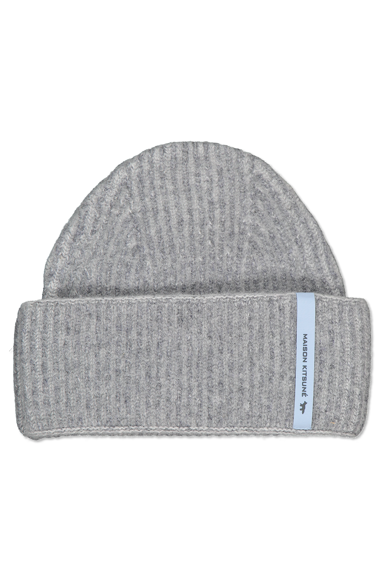 Front view image of Maison Kitsuné Women's Ribbed Lambswool Beanie