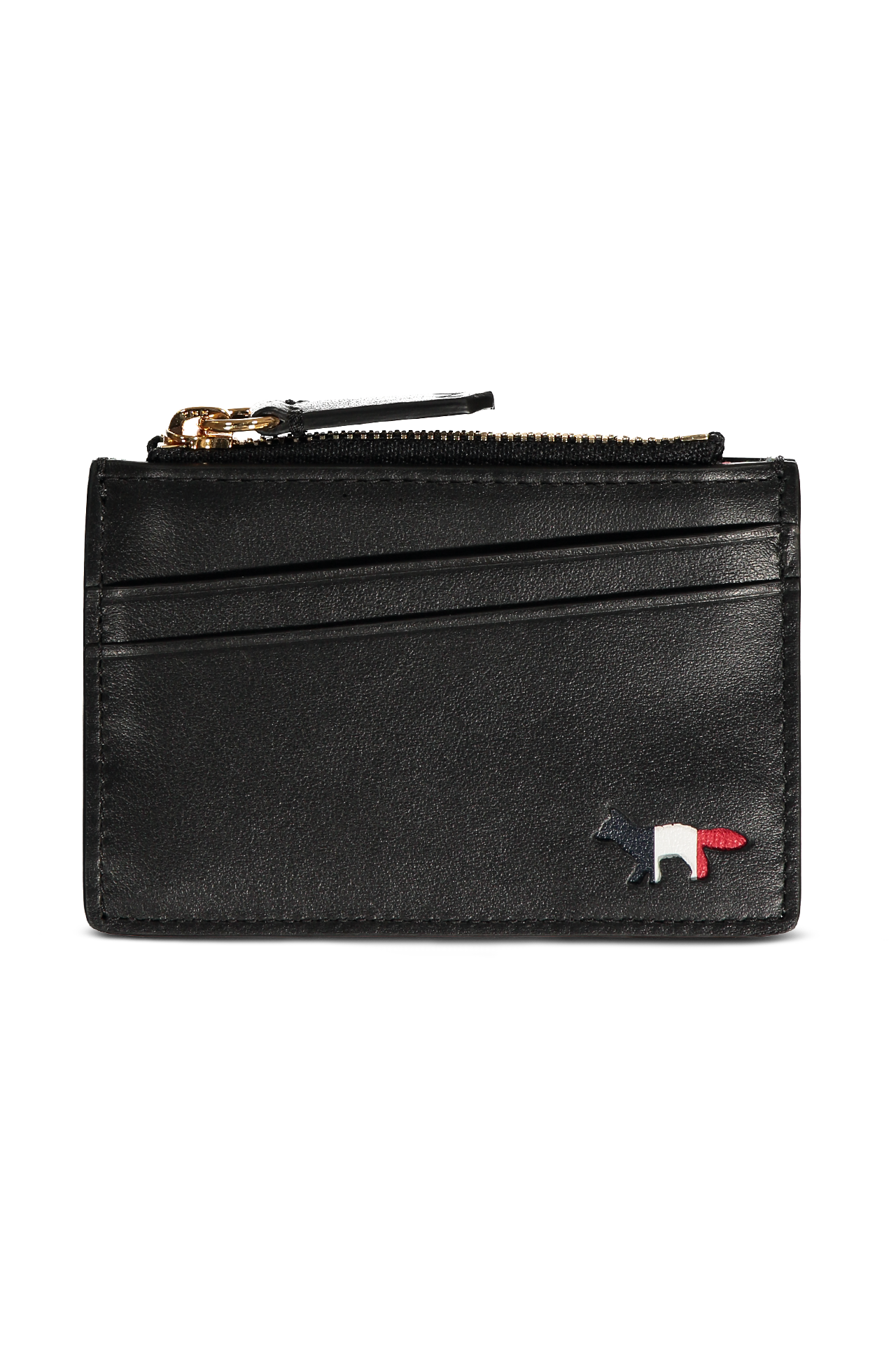 TRICOLOR ZIP CARD HOLDER BLACK