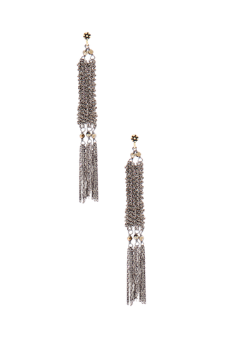 Front image of Maire Laure Chamorel Women's Ruthenium Earrings