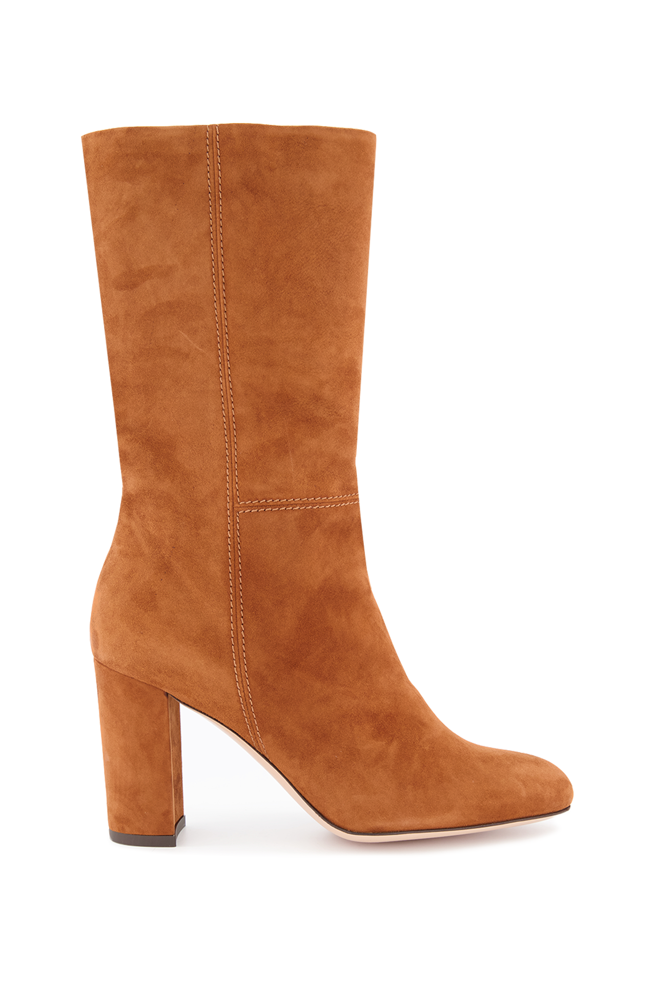 Side view image of Marion Parke Delila 85mm Suede Boot Camel